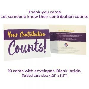 Thank-you cards: Your Contribution Counts (10/pack)